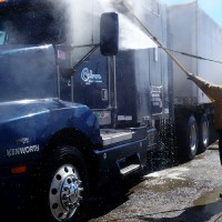 Cabrera Logistics truck getting washed